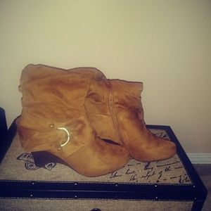 NWOT- Brown Faux Suede Wedge Boots